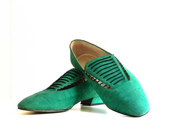 60s Shoes Flats Slip on Size 39 - 8- Uk 6 Green Suede Leather Mod Womens Low Heel