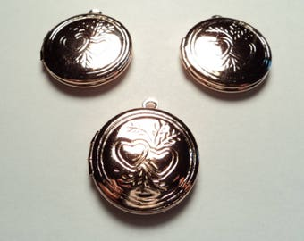 3 pcs - 20mm Rose gold plated  brass Round Lockets with double heart design - m272rg