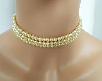 "vintage mid century 3 strand pearl choker necklace with rhinestone clasp 13.5""  wedding bridal"