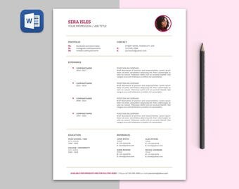 Sera Modern RESUME Template | Custom Professional Crafted Layout for Resume + Cover Letter in Editable Word Doc File | Printable Resume