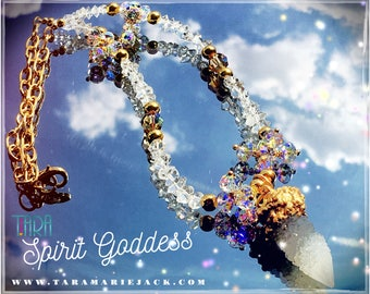 Spirit Goddess/Goddess Necklace/Spirit Quartz/Herkimer Diamond Necklace/Inspirational Swarovski Jewelry/Intuitive Jewelry