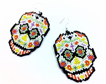 Sugar Skull Seed Bead Earrings - Handcrafted Fair Trade