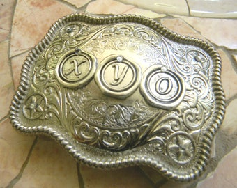 Monogram 3 Initial Personalized Silver Belt Buckle, Western Groomsmen Gift, Bridesmaid Custom Monogrammed Initial, Wedding Bridal Party Gift