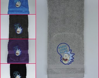 RTS Wubba Lubba Dub Dub Rick hand towel Bathroom Gift for him her stocking stuffer rick and morty ready to ship
