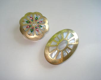 Vintage Brass Little Boxes - Mother of Pearl Shell Dishes -  Gold Ring Box- Small Dressing Table Ornament