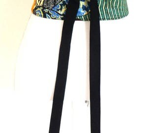 Reversible Obi Belt, waist-clencher, wax fabric, colorful. Made in France by Lorella Creations / Funky Bags 'n Bibs