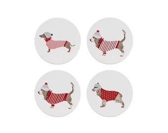 Holiday Dogs Coaster Set