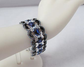 Midnight Waves Flat Woven Bracelet with Fancy Toggle Clasp