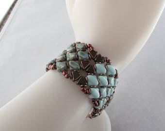 Turquoise and Bronze Patchwork Bracelet with Magnetic Clasp