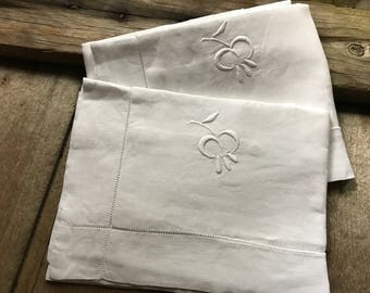 Antique French Linen Pillowcase, Euro Size, Embroidered Monogrammed, Chateau Chic, Set of 2