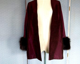 "1950s Jacket, Real Fur Trim, Plum/Burgundy, ""Elegance"" - Large Size, Gold Lined Vintage Dark Red Shantung Jacket, Dress, Evening"