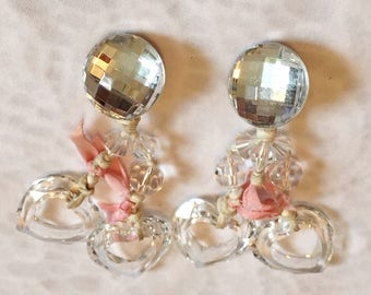 Unique Vintage Clip on Clear Rhinestone and Glass Heart Dangle Earrings Pink Ribbon