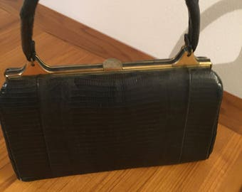 Reptile skin bag 1940s or 50s black color maybe alligator