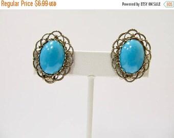 On Sale Vintage Ornate Turquoise Blue Earrings Item K # 1001