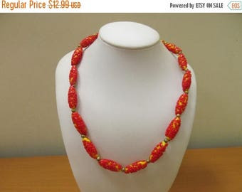 ON SALE Vintage Red and Yellow Applied Art Glass Beaded Necklace Item K # 1468