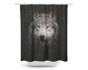 Wolf shower curtain | Etsy