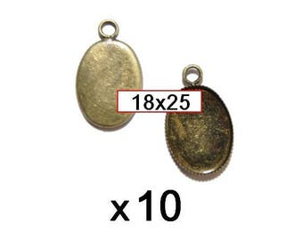 10 blank pendant bronze medal for cabobochon 18x25mm