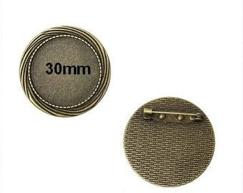 1 bronze fancy brooch finding cabochon 30mm