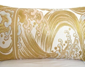 Luxury Japanese Obi Silk Pillow Hokusai Wave in Metallic Gold, Silver Pink & Cream with geometric Velvet Limited Numbered Edition