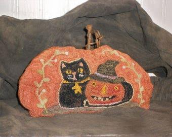 Primitive Halloween Punch Needle Pumpkin-Primitive Pumpkin- Orange Pumpkin-Black Cat--tbu  1156
