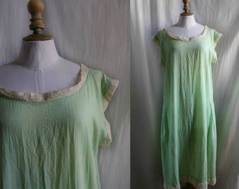 LINGERIE 1920's nightgown, rayon/cotton almond green & off-white lace. Large.