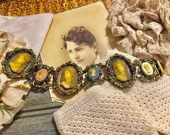 Stunning Cameo Bracelet Glass Stones Statement Jewelry