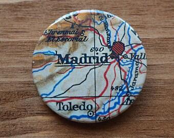 Pinback Button, Madrid, Ø 1.5 Inch Badge, Atlas, Travel, vintage, fun, typography, whimsical