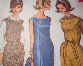 Vintage 1960's McCall's 6947 Dress or Jumper and Blouse Sewing Pattern Size 14 Bust 34