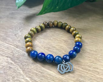 Third Eye Chakra Mala Bracelet, Lapis Lazuli, Sandalwood, Intrinsic Journeys Jewelry