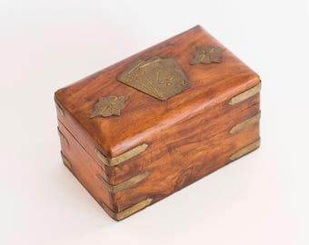 Vintage Handmade Wooden Card Case, Playing Card Storage Box, For 2 Deck of Cards, Playing Card Case