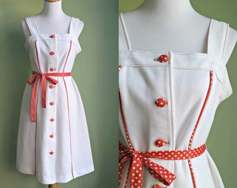 1960s Kiss Me Kate Dress - White and Red Polka Dot Sun Dress - Large