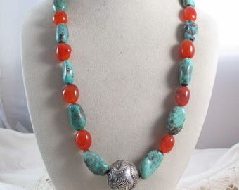 Unique Artisan made Turquoise Carnelian Gemstone Sterling Silver Dragon Ball Bead Necklace