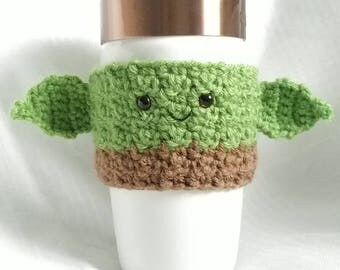 Yoda, crochet coffee cup cozy