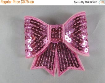 Pink Sequin Bows for Hair Bows or Crafts 3""