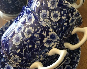 VINTAGE CALICO BLUE Burleigh Royal Staffordshire Cup and Saucers  - 4 available  Discount for multiple purchases