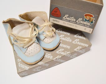 vintage baby shoes in box, Buster Brown, baby blue and white leather, size 2
