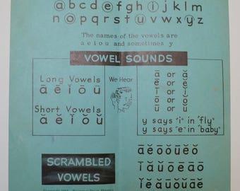 vintage school alphabet / vowel / phonics charts / flash cards / teaching poster: set of two, blue and pink, 1950s Bremner Davis