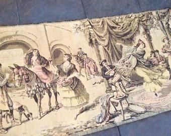 """Antique Tapestry Made in Belgium Renaissance Scene 35""""x19"""""""