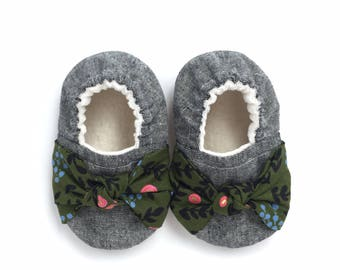 Knot Bow Green Floral Soft Sole Vegan Baby Shoes