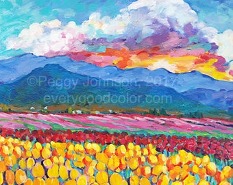 Tulip Field sunrise blue mountains Skagit county giclee print peggy johnson every good color