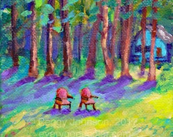 forest cabin escape  retreat  impressionistic  choose your size Peggy Johnson