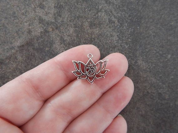 10 Lotus Pendants with Ohm Lotus Blossom Flower Serene Jewelry