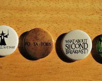Lord of the Rings/Hobbit Pin back Buttons