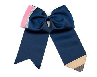 Pencil cheer bow- Hair Bow, Back to School Bow, Pencil Hair Bow,  School Bow