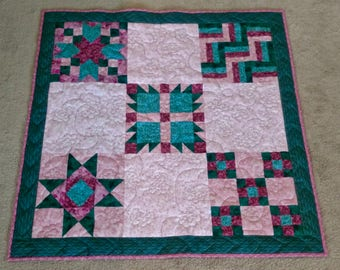 "Patchwork Quilt Wheelchair or Baby Size 40"" x 40"""