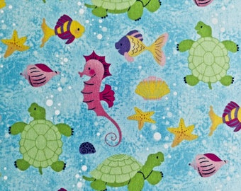 Seahorse Print Quilting Fabric - 1 yd and 34 inches long by 44 inches wide