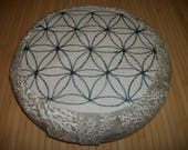 "Flower of Life Meditation Cushion. Zafu. Flax/Linen and Driftwood Coral Fabric. 15""x5"". BuckwheatHulls. 6"" L. Sidewall Velcro. Handmade, USA"