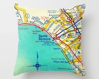 Santa Monica Pillow Cover 18x18, California Map Pillow, Santa Monica, Venice Beach  Decorative Throw Pillow, Map Throw Pillow, Kids room map