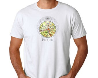Asheville T Shirt, Asheville Gifts, Clothing Gifts, Vintage Asheville NC Map Christmas Gifts Men Gift Boyfriend Gifts for Him Unisex T Shirt