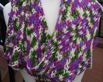 Crochet Asymmetrical  Lace  Shawl- Green, Purple and White